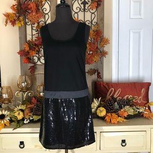 Loft| NEW Womens Black mini sequel dress